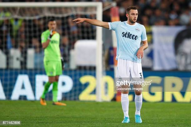 Stefan de Vrij of Lazio Roma during the Italian Serie A match between AS Roma v Lazio at the Stadio Olimpico on November 18 2017 in Rome Italy