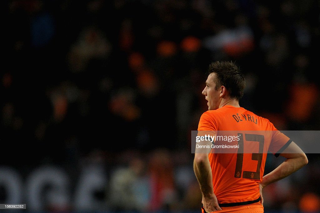 Stefan de Vrij of Netherlands looks on after the International Friendly match between Netherlands and Germany at Amsterdam Arena on November 14, 2012 in Amsterdam, Netherlands.