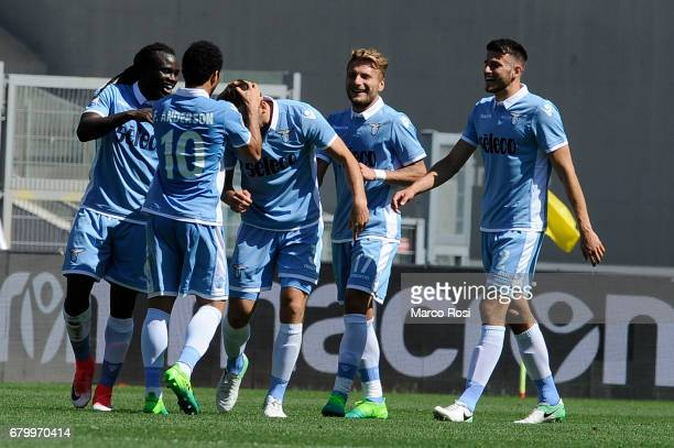 Stefan De Vrij of SS Lazio celebrates a fifth goal with his team mates during the Serie A match between SS Lazio and UC Sampdoria at Stadio Olimpico...