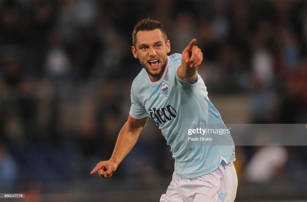 Stefan De Vrij of SS Lazio celebrates after scoring the opening goal during the Serie A match between SS Lazio and SSC Napoli at Stadio Olimpico on September 20, 2017 in Rome, Italy.