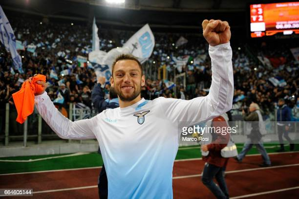 Stefan De Vrij of SS Lazio celebrates after the TIM Cup match between AS Roma and SS Lazio at Stadio Olimpico on April 4 2017 in Rome Italy