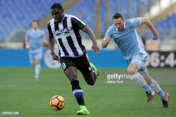 Stefan De Vrij of SS Lazio compete for the ball with Duvan Zapata of Udinese Calcio during the Serie A match between SS Lazio and Udinese Calcio at...
