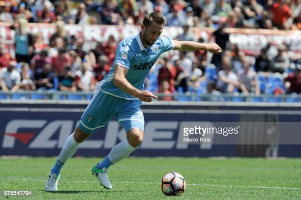 Stefan De Vrij of SS Lazio during the Serie A match between AS Roma and SS Lazio at Stadio Olimpico on April 30 2017 in Rome Italy