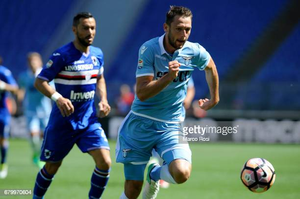 Stefan De Vrij of SS Lazio during the Serie A match between SS Lazio and UC Sampdoria at Stadio Olimpico on May 7 2017 in Rome Italy