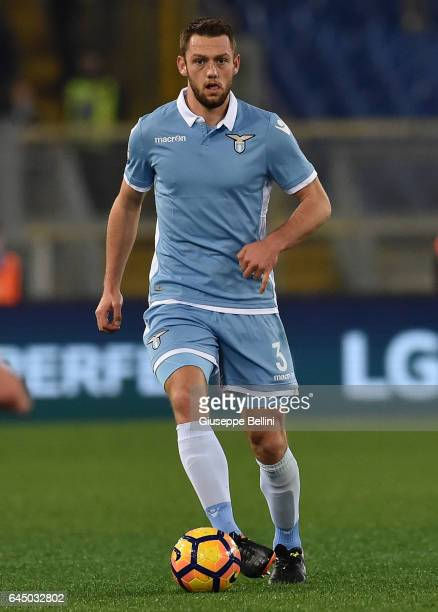 Stefan De Vrij of SS Lazio in action during the Serie A match between SS Lazio and AC Milan at Stadio Olimpico on February 13 2017 in Rome Italy