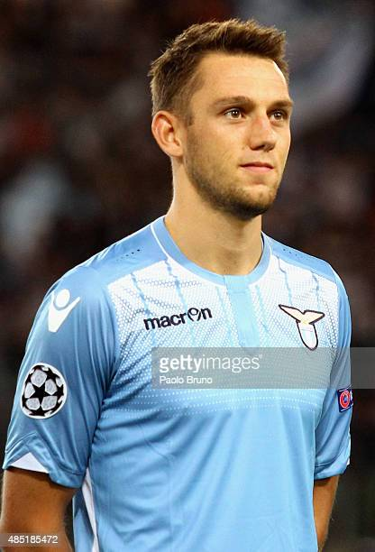 Stefan De Vrij of SS Lazio looks on during the UEFA Champions League qualifying round play off first leg match between SS Lazio and Bayer Leverkusen...