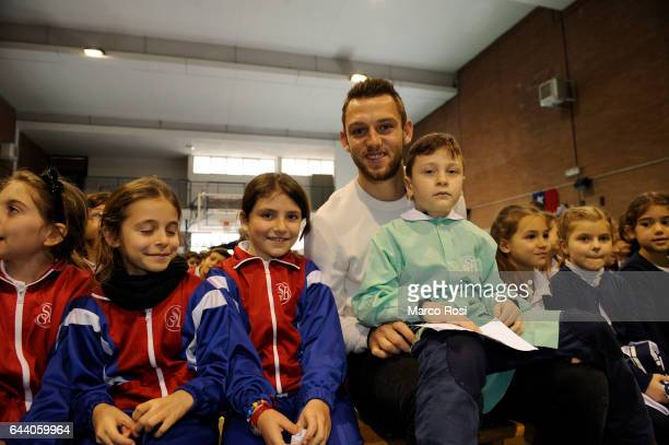 Stefan De Vrij of SS Lazio meets school students with his teammates on February 23 2017 in Rome Italy