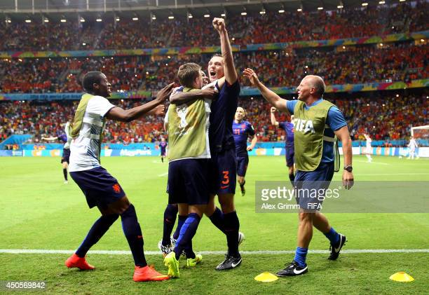 Stefan de Vrij of the Netherlands celebrates after scoring a goal during the 2014 FIFA World Cup Brazil Group B match between Spain and Netherlands...