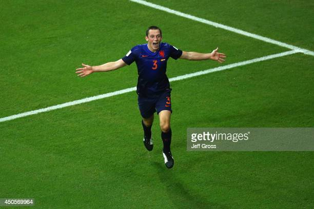 Stefan de Vrij of the Netherlands celebrates scoring his teams third goal during the 2014 FIFA World Cup Brazil Group B match between Spain and...