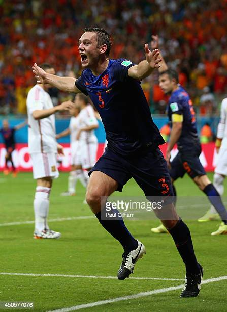 Stefan de Vrij of the Netherlands celebrates scoring the third goal during the 2014 FIFA World Cup Brazil Group B match between Spain and Netherlands...