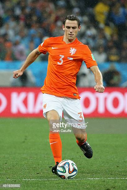 Stefan De Vrij of the Netherlands in action during the 2014 FIFA World Cup Brazil Semi Final match between Netherlands and Argentina at Arena de Sao...