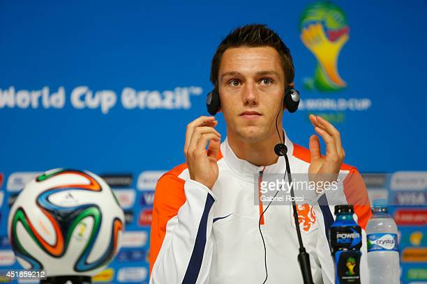 Stefan De Vrij of the Netherlands looks on during a press conference at Arena Corinthians on July 08 2014 in Sao Paulo Brazil The Netherlands will...