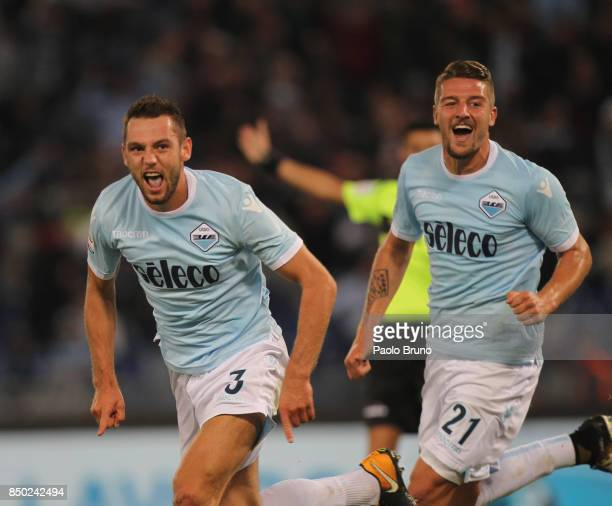 Stefan De Vrij with his teammate Sergej Milinkovic of SS Lazio celebrates after scoring the opening goal during the Serie A match between SS Lazio...