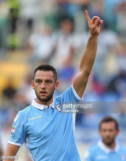 Stefan DeVrij of SS Lazio gestures during the Serie A match between SS Lazio and Pescara Calcio at Stadio Olimpico on September 17 2016 in Rome Italy