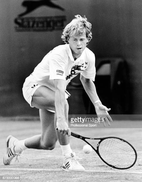 Stefan Edberg of Sweden in action during the Wimbledon Championships held at the All England Lawn Tennis and Croquet Club in Wimbledon London circa...
