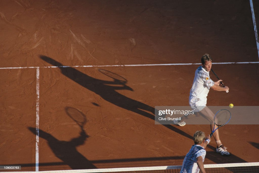 Stefan Edberg of Sweden makes a net return volley against Thomas Muster on 22nd April 1994 during the quarter final of the Men's Singles event of the...