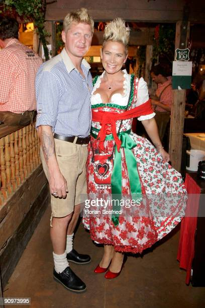 Stefan Effenberg and wife Claudia attend the Oktoberfest 2009 opening at Kaefer Schaenke at the Theresienwiese on September 19 2009 in Munich Germany...