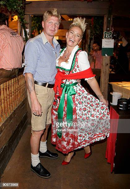 Stefan Effenberg and wife Claudia Effenberg attend the Oktoberfest 2009 opening at Kaefer Schaenke at the Theresienwiese on September 19 2009 in...