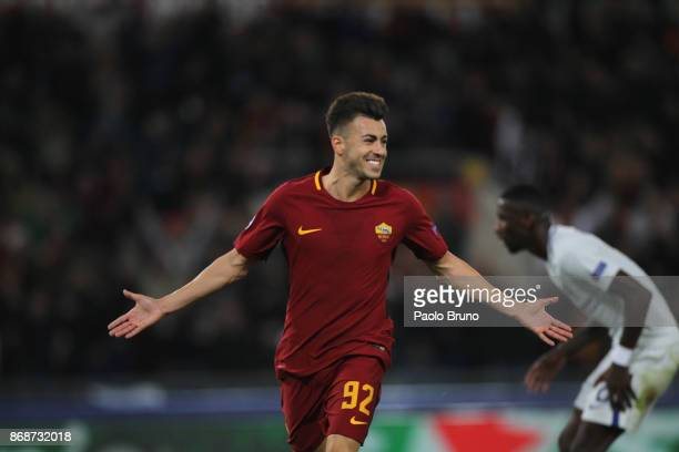 Stefan El Shaarawy of AS Roma celebrate after scoring the team's second goal during the UEFA Champions League group C match between AS Roma and...