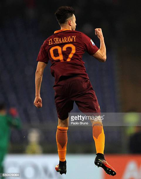 Stefan El Shaarawy of AS Roma celebrates after scoring the team's first goal during the Serie A match between AS Roma and AC ChievoVerona at Stadio...