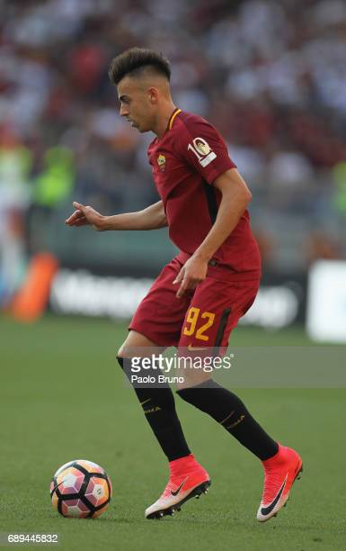 Stefan El Shaarawy of AS Roma in action during the Serie A match between AS Roma and Genoa CFC at Stadio Olimpico on May 28 2017 in Rome Italy