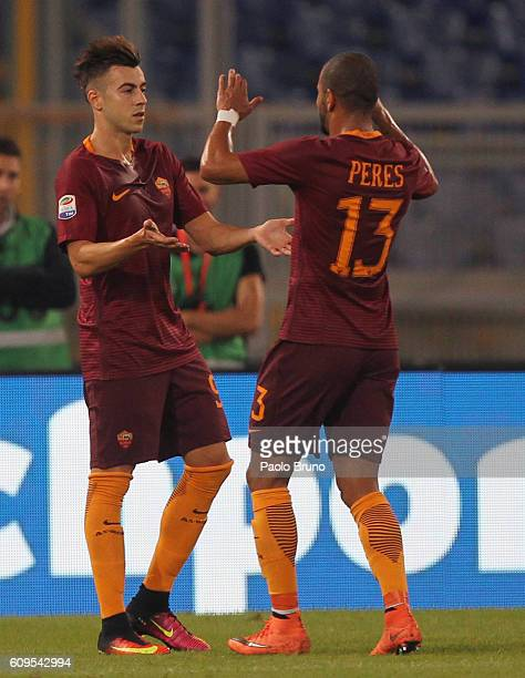 Stefan El Shaarawy with his teammate Bruno Peres of AS Roma celebrates after scoring the opening goal during the Serie A match between AS Roma and FC...