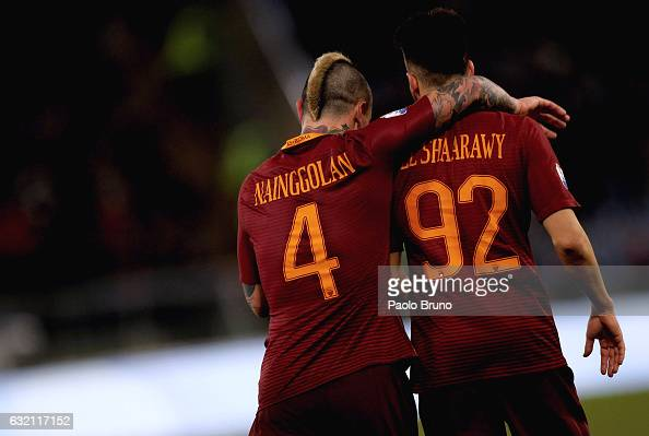 Stefan El Shaarawy with his teammate Radja Nainggolan of AS Roma celebrates after scoring the team's third goal during the TIM Cup match between AS...