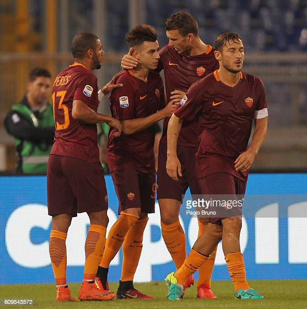 Stefan El Shaarawy with his teammates of AS Roma celebrates after scoring the opening goal during the Serie A match between AS Roma and FC Crotone at...