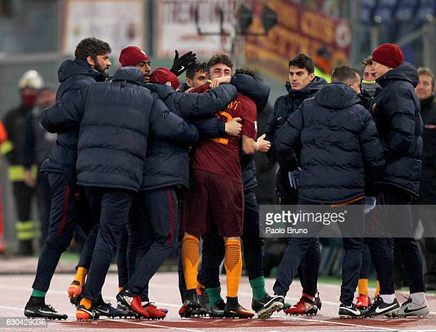 Stefan El Shaarawy with his teammates of AS Roma celebrates after scoring the team's first goal during the Serie A match between AS Roma and AC...