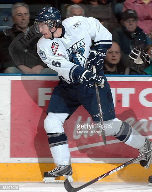 Stefan Elliott of the Saskatoon Blades skates against the Kelowna Rockets on December 3 2008 at Prospera Place in Kelowna Canada