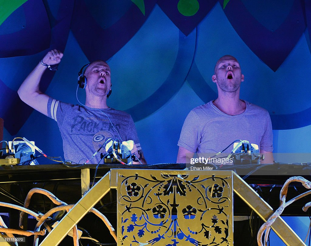 Stefan Engblom (L) and Olle Corneer of Dada Life perform at the 17th annual Electric Daisy Carnival at Las Vegas Motor Speedway on June 22, 2013 in Las Vegas, Nevada.