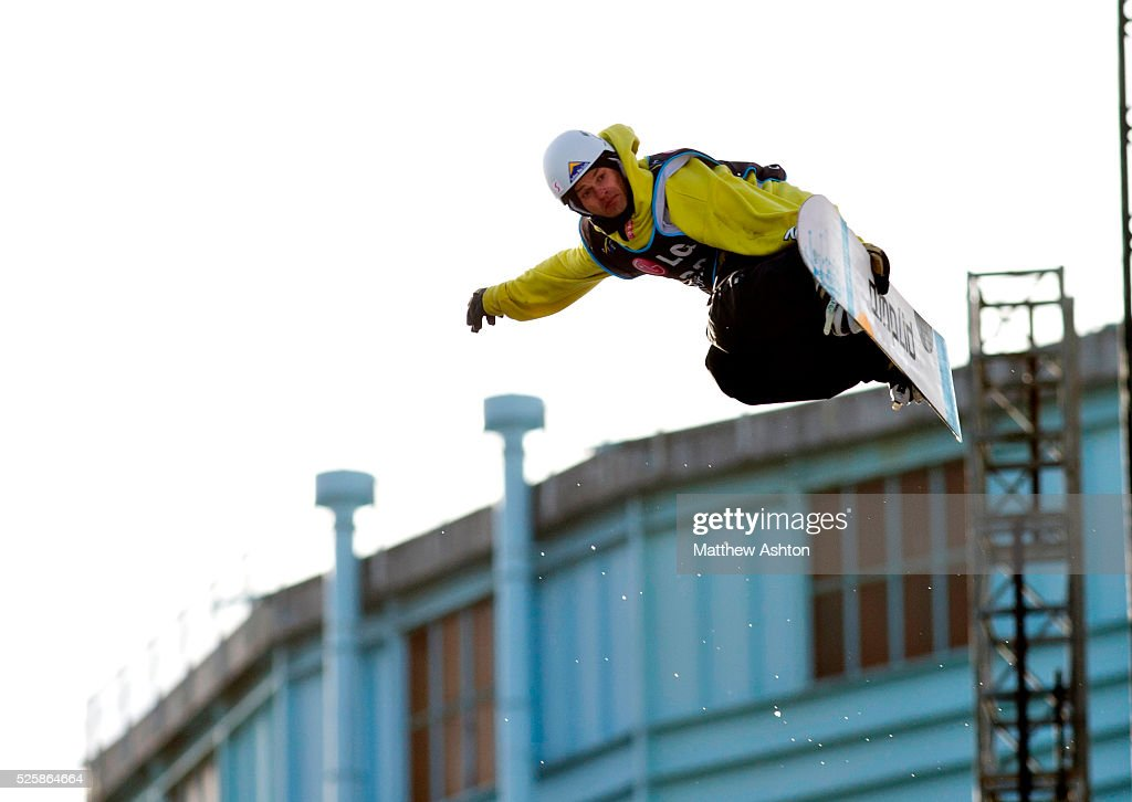 Stefan Falkeis from Austria competing in the LG Snowboard International Ski Federation in London