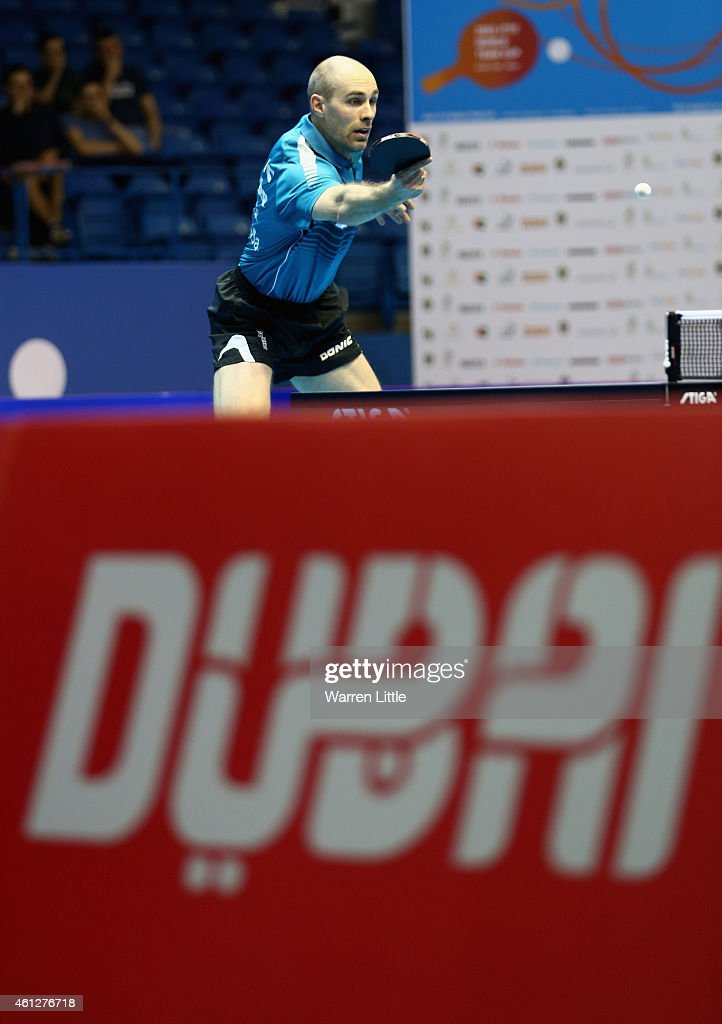 Stefan Fegerl and Daniel Habesohn en roiute to beating Joao Monteiro and Tiago Apolonia of Portugal during the semi finals of the 2015 IFFT World Team Cup at the Al Nasr Stadium on January 10, 2015 in Dubai, United Arab Emirates.