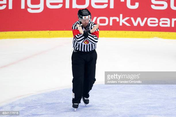 Stefan Fonselius referee in action during the Champions Hockey League Final between Frolunda Gothenburg and Sparta Prague at Frolundaborgs Isstadion...