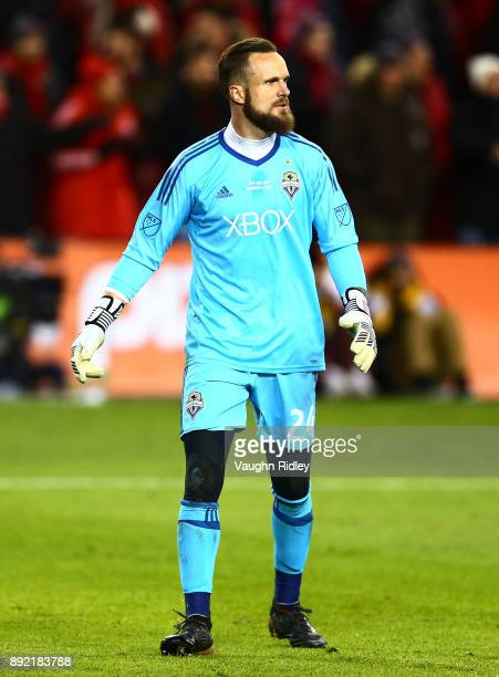 Stefan Frei the Seattle Sounders looks on during the 2017 MLS Cup Final against Toronto FC at BMO Field on December 9 2017 in Toronto Ontario Canada