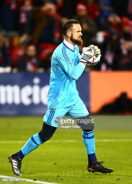 Stefan Frei the Seattle Sounders throws the ball during the 2017 MLS Cup Final against Toronto FC at BMO Field on December 9 2017 in Toronto Ontario...