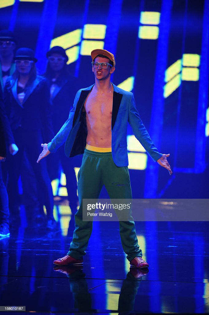 Stefan Gius performs during the 'Das Supertalent' Semi Finals on December 08, 2012 in Cologne, Germany.