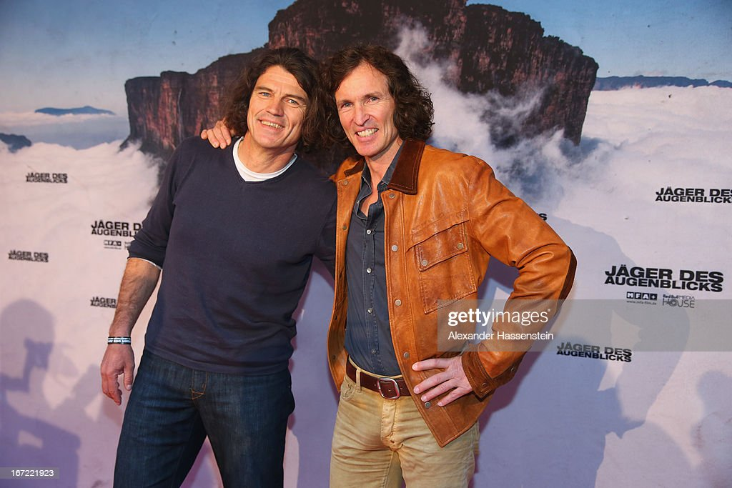 Stefan Glowacz (R) attends with Holger Heuber the 'Jaeger des Augenblicks' World premiere at City Kino on April 22, 2013 in Munich, Germany. The adventure movie with climbing star Stefan Glowacz starts on April 25, 2013 in cinemas across Germany.