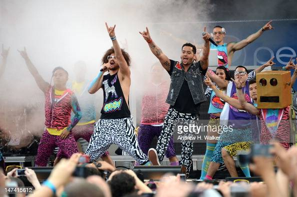 Stefan Gordy and Skyler Gordy of the band LMFAO perform on ABC's 'Good Morning America' at Rumsey Playfield Central Park on June 29 2012 in New York...