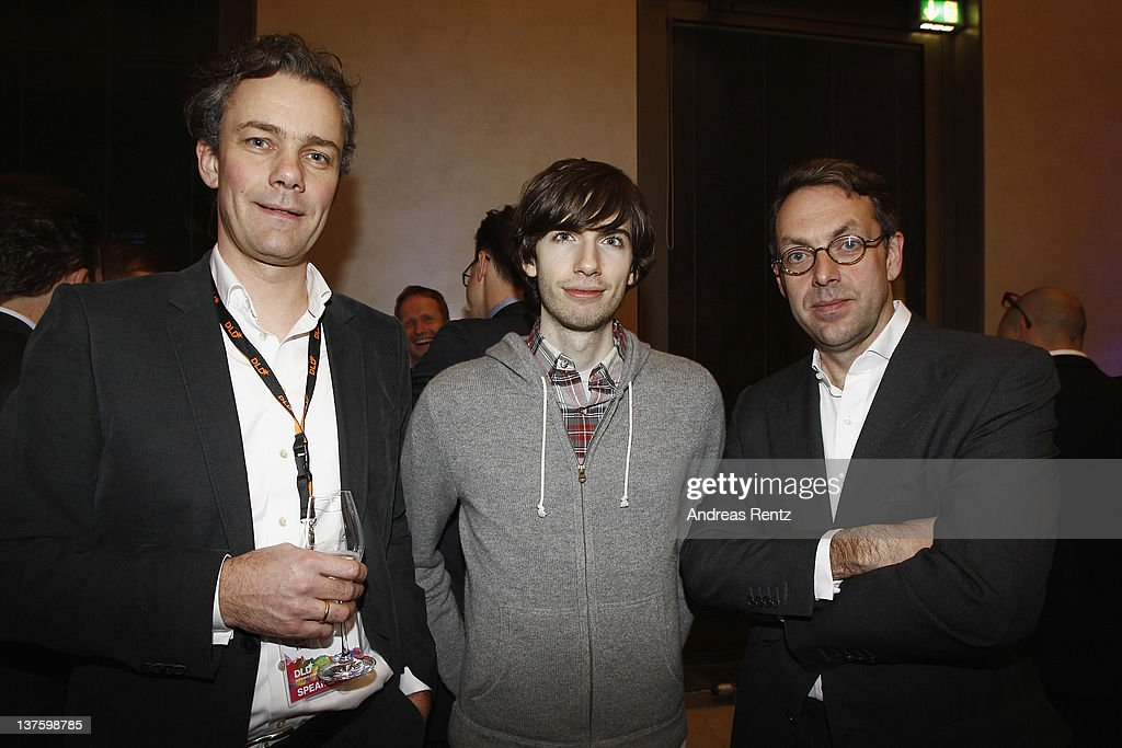 Stefan Grofl-Selbeck, Tumblr's CEO, David Karp and Klaus Hommels attend the Chairmen & Speaker Dinner during the DLD Conference 2012 at the Jewish Community Centre on January 22, 2012 in Munich, Germany.