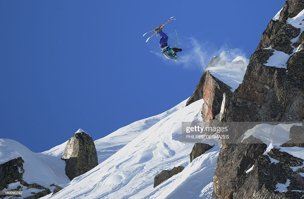 Stefan Hausl of Austria jumps on the wild face of 'l'Aiguille Pourrie' during the French stage of the Freeride World Tour (FWT) on January 26, 2013 in Chamonix, French Alps.