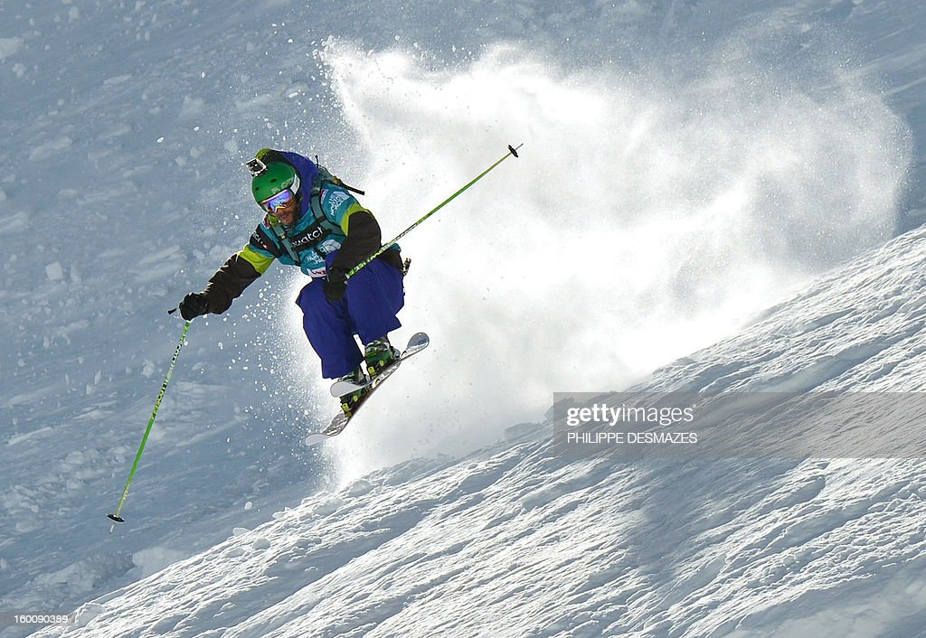 Stefan Hausl of Austria jumps on the wild face of 'l'Aiguille Pourrie' during the French stage of the Freeride World Tour (FWT) on January 26, 2013 in Chamonix, French Alps. AFP PHOTO / PHILIPPE DESMAZES