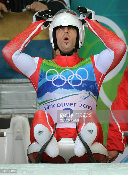 Stefan Hoehener of Switzerland prepares to take the start of the men's luge singles run 3 at the Whistler sliding centre on February 14 2010 during...
