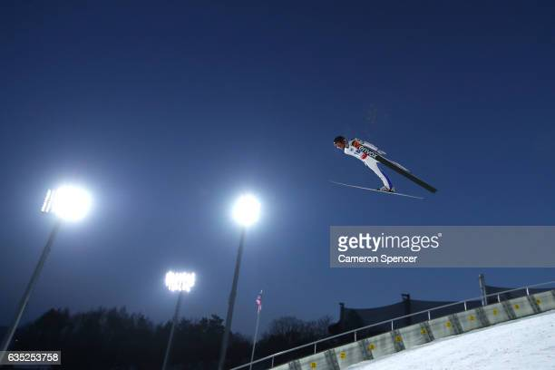 Stefan Huber of Austria jumps during trainining for the 2017 FIS Ski Jumping World Cup test event For PyeongChang 2018 at Alpensia Ski Jumping Center...