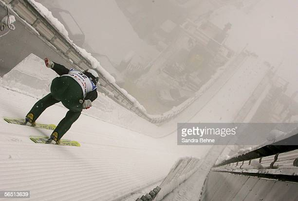 Stefan Hula of Poland skis down during training for the FIS Ski Jumping World Cup event at the 54th Four Hills ski jumping tournament on January 3...