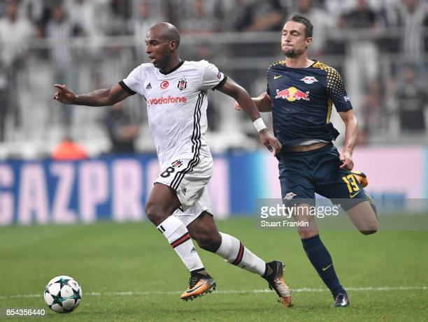 Stefan Ilsanker of Leipzig challenges Ryan Babel of Besiktas during the UEFA Champions League second leg group G match between Besiktas and RB...