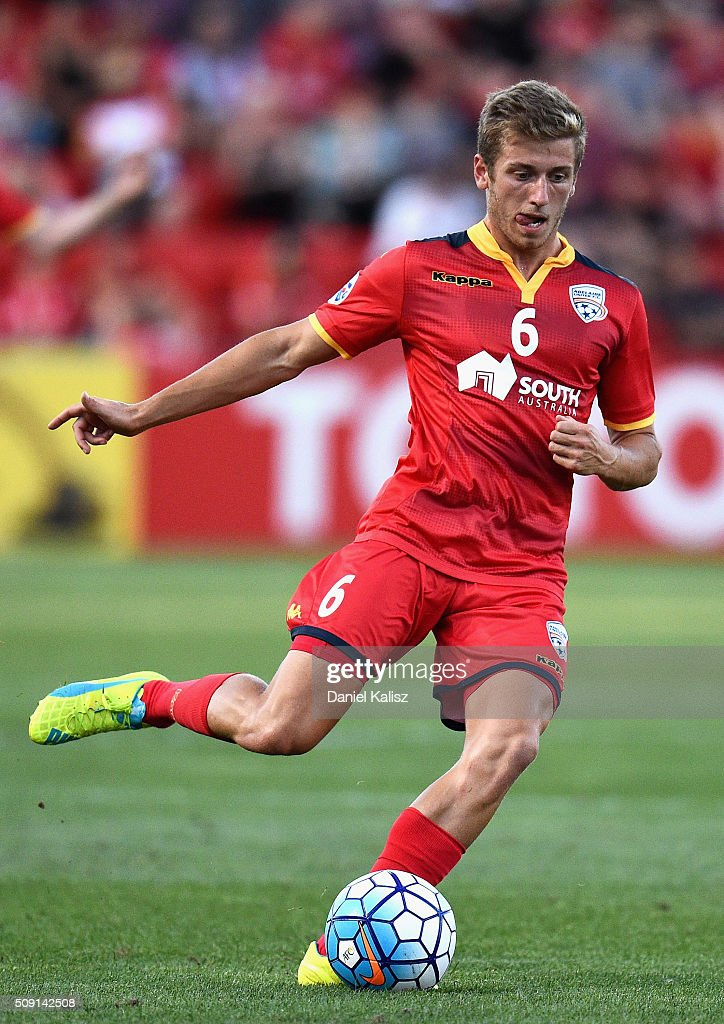 Stefan Ingo Mauk of United strikes the ball during the AFC Champions League playoff match between Adelaide United and Shandong Luneng at Coopers Stadium on February 9, 2016 in Adelaide, Australia.