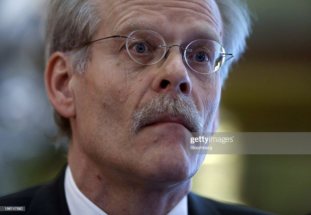 Stefan Ingves, governor of Sweden's central bank, reacts during an event hosted by the Official Monetary and Financial Institutions Forum (OMFIF) in London, U.K., on Tuesday, Nov. 20, 2012. Sweden's economy is stagnating as a recession in the euro area saps export demand, prompting companies such as Ericsson AB to cut jobs. Photographer: Simon Dawson/Bloomberg via Getty Images
