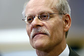 Stefan Ingves governor of the Riksbank looks on during during a television interview following a news conference at the Swedish central bank...