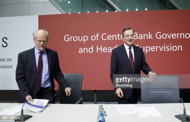 Stefan Ingves governor of the Sveriges Riksbank and chairman of the Basel Committee left and Mario Draghi president of the European Central Bank...